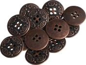 RaanPahMuang Metal Renaissance Button Round Mediaeval Antique Brass - 2cm x 50pcs, Antique Copper