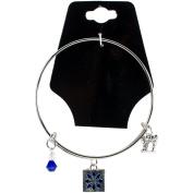 Charming Accents Adjustable Charm Bangle 19cm -Blue Quilt Block