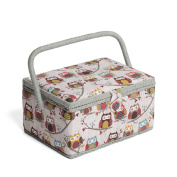 Hobby Gift MRM/195 | Hoot Print Med Sewing Basket |18.5x26x15cm