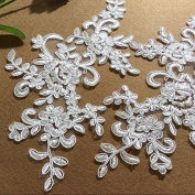 Ivory Lace Trim Embroidered Patch Lace Cord Venise Applique Motif Trimming Sewing Clothing Accessories DIY Lace Applique