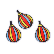 Souarts Colourful Fire Balloon Shaped Embroidered Sew Iron On Applique Patches Pack of 5pcs