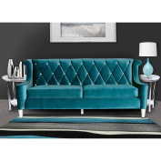 ARMEN LIVING Barrister Sofa, Blue Velvet with Crystal Buttons