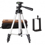 Abeststudio Light Aluminium Tripod 100cm Photographic Camera Tripod with Bag for Canon Nikon Sony Fuji Olympus Panasonic + Phone Clip