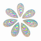 100 AB Clear Faceted Drop Shape Sew on Rhinestones Crystal Gems Flatback Sewing Stones Dress Accessory 2 Holes