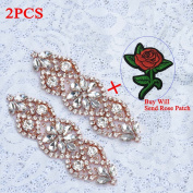 (2pcs) Bridal Rhinestone Applique Rose Gold, Wedding Appliques Classic Style Sewing Iron on Hot Fix for DIY Bridal Wedding Dress Sash Women Crystal Belt - Rose Gold