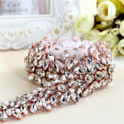 Crystal Rhinestone Appliques by the Yard Jewellery Embellishments Handcrsfted Sparkle Elegant Long Sewing Hot fix for DIY Wedding Gown Bridal Belts Sashes Prom Evening Women Dresses - Rose Gold