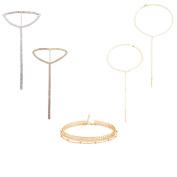 MingJun 5 PCS Rhinestone Crystal Long Tassel Chain Choker Necklace with Handmade Gold Chain Pendant for Women Girls Teen