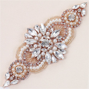 Bridal Wedding Dress Applique, Crystal Rhinestone Belt Applique Pearls Beaded Dacorations Handcrafted Sparkle Sewn or Hot Fix for Women Gown Evening Prom Sash Clothes - Rose Gold