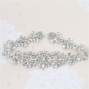 Crystal Rhinestone Apliques Jewellery Embellishments Handcrsfted Elegant Sewing Hot fix for DIY Wedding Bridal Belts Sashes Prom Dresses - Silver