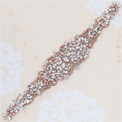 Rhinestone Applique - Bridal Wedding Crystal Applique Beaded Dacorations Handcrafted Sparkle Elegant Sewn or Hot Fix for Women Gown Sash Evening Prom Party Dress Belt Clothes - Rose Gold