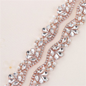 Bridal Wedding Apliques 1 Yard Sewn Iron on Rhinestone Belts Sashes Sparkle Thin lightweight for DIY Women Dress Clothing Headbands Headpieces Garters Tiaras Veils Hats Shoes Bags - Rose Gold
