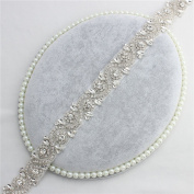 Crystal Rhinestone Applique Trim 1 Yard - Bridal Wedding Applique Beaded Dacorations Handcrafted Sparkle Elegant Sewn or Hot Fix for Women Gown Sash Evening Prom Party Dress Belt Clothes - Silver