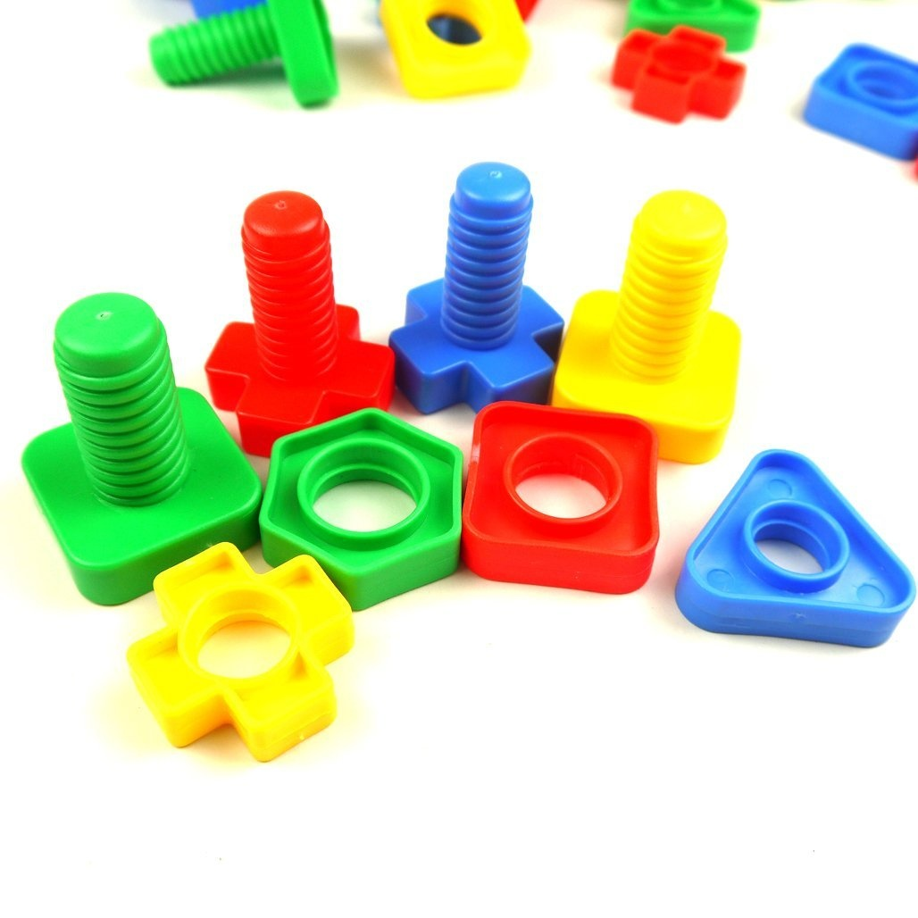 lieomo 30Pcs Jumbo Nuts And Bolts Set Matching Fine Motor Toy For Toddlers  Preschoolers