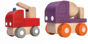 PlanToys Mini Fire engine Toy and Mini Cement Mixer Toy