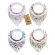 iZiv 4 PACK Baby Bandana Drool Bibs with Adjustable Snaps, Waterproof TPU Lining 0-2 Years