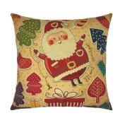 NXDA Pillow Case,Xmas Christmas Printing Linen Blend Throw Pillows Cover for Home Car Bed Decorative 46cm x 46cm