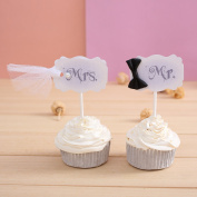 20 CT MR & MRS Cupcake Toppers Wedding Decorations - by Giuffi