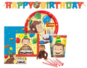 Curious George Birthday Party Set Supplies for 8 - Dessert Plates 8ct. Cups 8 ct. Napkins 8 ct. and Curious George Cake Topper & Birthday Candle Set