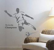 Domire We Are The Champions Quotation A Man Playing Football for Men or Boys' Bedroom Wall Stickers Decor