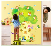 New Design Tree with Doors Playing Monkeys for Children's Room Sun and Cloud Decor Present