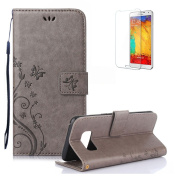 Funyye Samsung Galaxy J3 Prime Case. Elegant Premium Folio PU Leather Wallet Magnetic Flip Cover with [Wrist Strap] and [Credit Card Holder Slots] Stand Function Book Type Stylish Butterfly Leaf Vines Designs Full Protection Holster Case Cover Skin She ..