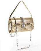 Ladies Gold with A Silver Cut Diamate strap stone purse fan ruffle evening Cocktail wedding Bridal Bag