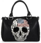 styleBREAKER Women's 02012051 USA Skull and Black Crystal Bowling Bag, Handbag