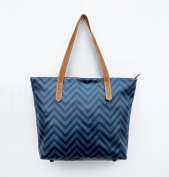 Blue Tote bag, laminated cotton, chevron print, sheen finish, leather trims, zip closure, everyday bag.