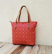 Tote bag, laminated cotton, Orange and pink bag, retro print, , matt finish, leather trims, everyday bag.