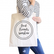 365 Printing Food Friends Sunshine Cute Graphic Natural Canvas Bag Heavy Cotton