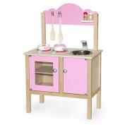 Vortigern #51032 - Wooden Pink Play Kitchen + Saucepan, Frying Pan & Accessories