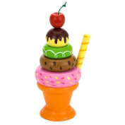 Wooden Ice Cream Sundae Set Play-food Pretend Party Tea-set Childrens Wood Toy