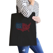 365 Printing Happy Birthday USA Black Canvas Shoulder Bag For Independence Day