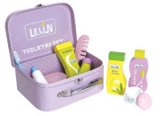 Lelin Wooden Toiletry Set Childrens Pretend Play Bathroom Travel Accessory Set