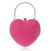 Women Suede Heart Shape Mini Clutches Evening Clutch Party Bag Purse with Chain and Handle Ring