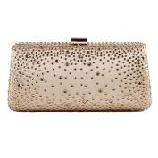 Bag clutch, Isa Gold, satin fabric