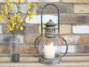 Antique Vintage Garden Candle Hurricane Railway Lantern Lamp Holder Large 35cm