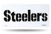 Pittsburgh Steelers 2326 WHT WRDMRK Metal Aluminium Licence Plate Tag Football