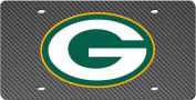 Green Bay Packers CARBON fibre Design Deluxe Laser Licence Plate Tag Football