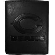 NFL Chicago Bears Embossed Black Tri-fold Leather Wallet