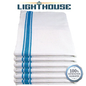 Lighthouse Cotton Kitchen Dish Towels - White with Navy Stripe