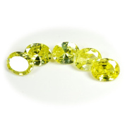 CaratYogi Cubic Zircon Gemstone 22.4 Ct Lime Oval 5 Pieces wholesale lot for Jewellery making
