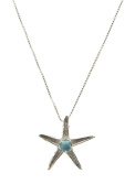 Sterling Silver Sea Star Necklace with Turquoise
