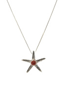 Sterling Silver Sea Star Necklace with Coral
