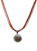 Sterling Silver Sea Urchin Necklace with Coral