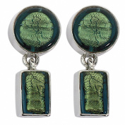 Gabriella Nanni, Earrings in 925 silver with Murano glass - Vetro Sommerso - Orecchini Morbidi Tondo Piccolo e Rettangolino