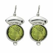 Gabriella Nanni, Earrings in 925 silver with Murano glass - Vetro Sommerso - Orecchini Tondo Monachella con Lastra