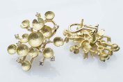 Nuovi gioielli, water lilies yellow gold earrings 18 ct with diamonds