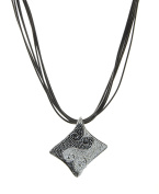 Sterling Silver Two-Tone Rhombus Necklace
