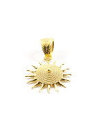 18ct Gold Filigree Corbula Sun Pendant